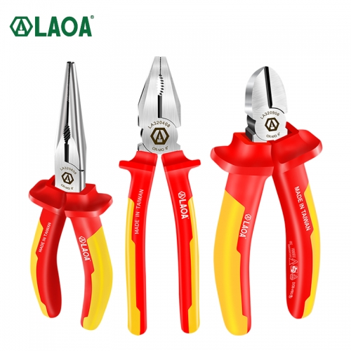 LAOA VDE Insulated Wire Cutters Long Nose Pliers Diagonal Pliers 1000V Cr-Mo Steel German certification