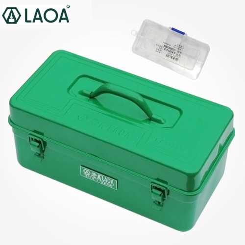 LAOA Thicken Hardware Tool Box Large Capacity Iron Toolkit Tools Storage Case With Inner Layers