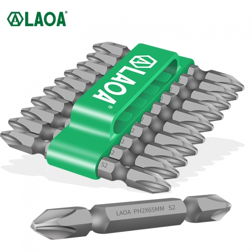"LAOA 10PCS 1/4"" Strong Magnetism Phillips Screwdriver bit Ph2 65mm Two End S2 Electric Screwdriver Bit"