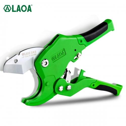 LAOA PVC Pipe Cutter 42mm SK5 Material Aluminum Alloy Body Ratchet Scissors Blade PVC/CPVC/VE/PE House Hand Tools